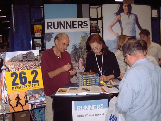 Signing our new book at the Boston Marathon Runners World booth 2006